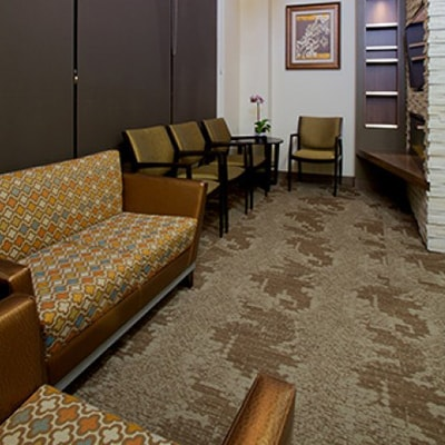 Office tour of Discovery Dental. Here are the couches in the waiting room