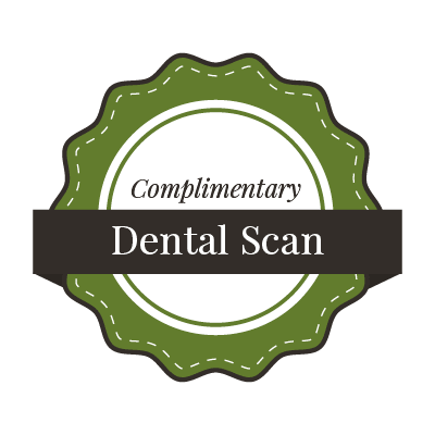 "Graphic of a new patient special saying ""Complimentary dental scan!"""