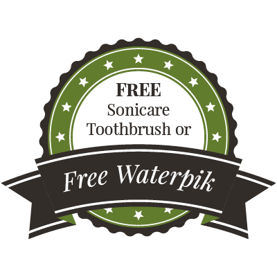 "Graphic of a new patient special saying ""FREE Sonicare Toothbrush or Free Waterpik!"""