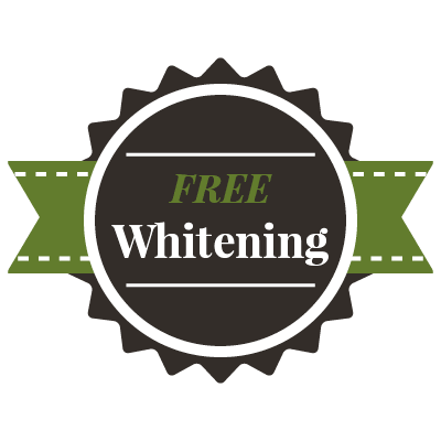 "Graphic of a new patient special saying ""Free Whitening"""