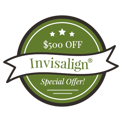 "Graphic of a new patient special saying ""$500 off Invisalign!"""